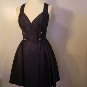 Vintage Navy Cocktail Criss Cross Dress Si XS XXS